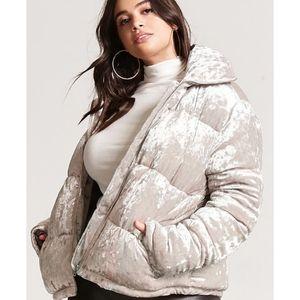 Forever 21 Silver Velvet Puffer Coat